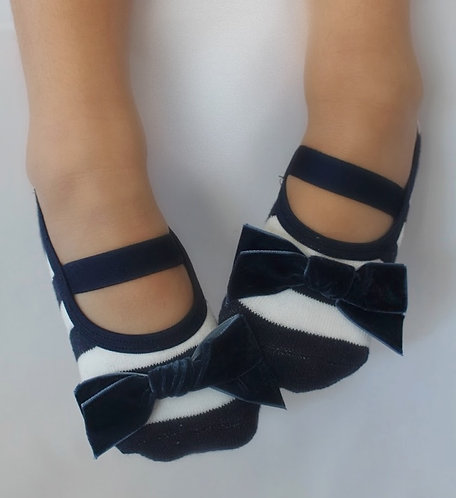 Kids Navy & White Velvet bow