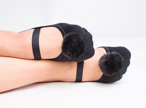 Ladies Black pompom