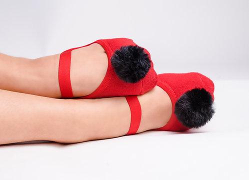 Ladies Red & Black Faux fur pompom