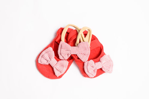 Baby Red & White Bow Bundle