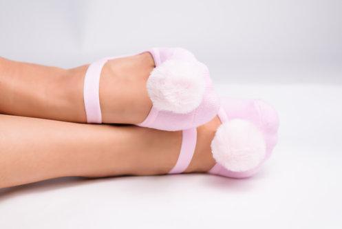 Ladies Pink Faux fur pompom
