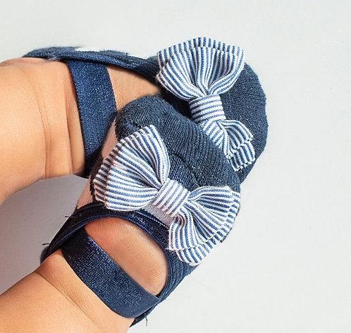 Baby Navy & White Bow