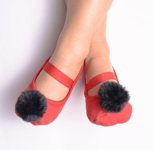 Kids Black & Red faux fur pompom