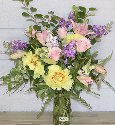 Large Bouquet in Glass Cylinder Vase