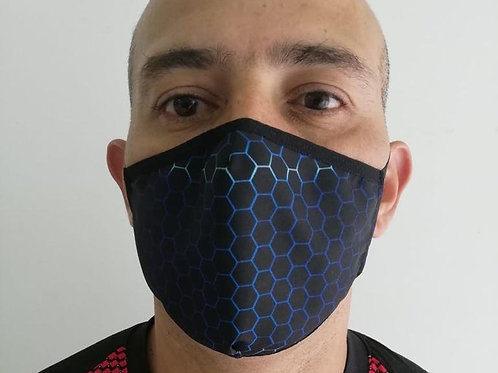 Anti-Fluids Mask-Black/Blue Hexagons