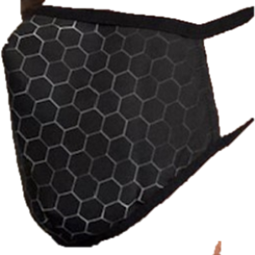 Anti-Fluids Mask-Black/Silver Hexagons