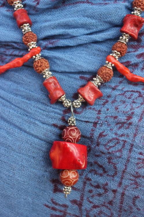 Coral & Rudraksha Necklace