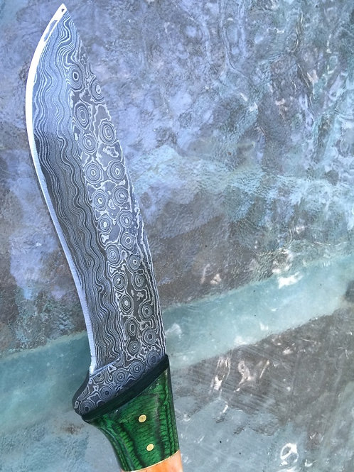 Raindrop Damascus Knife, CUSTOM ORDER ONLY