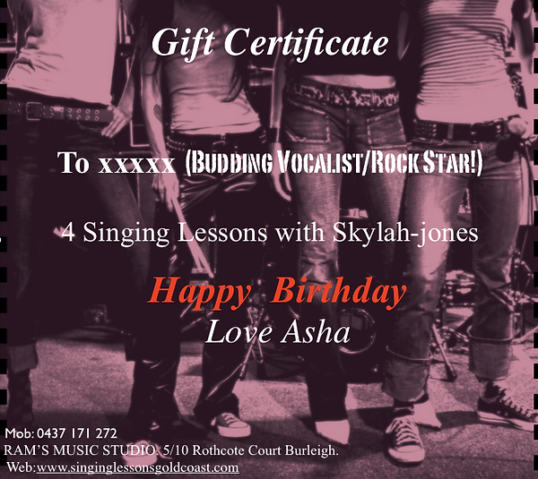 Gift Certificate-Singing lessonsgoldcoast-Music lessons goldcoast.