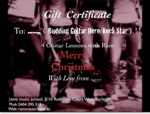 Gift Certificate special offer. Music Lessons, Guitar Lessons, Bass Lessons, Singing Lessons, Piano Lessons, Brass & Woodwind.