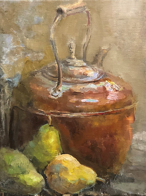 'Copper Pot & Pears' by Wayne Campbell