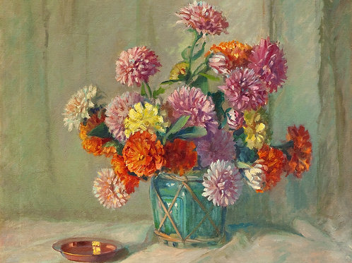 Flowers in Green Vase by Genevieve Goth Graf