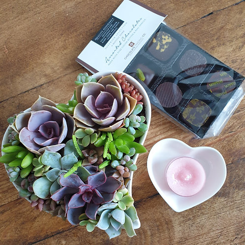 Heart Shaped Planter and Chocolates
