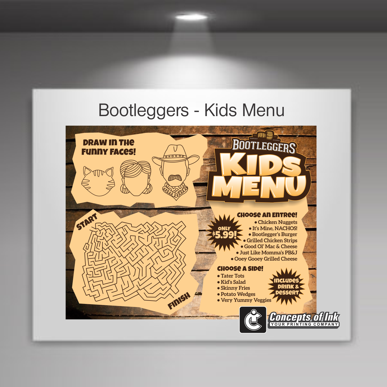 Bootleggers Kids Menu