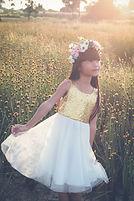 Beautiful Little girl in a field of flow