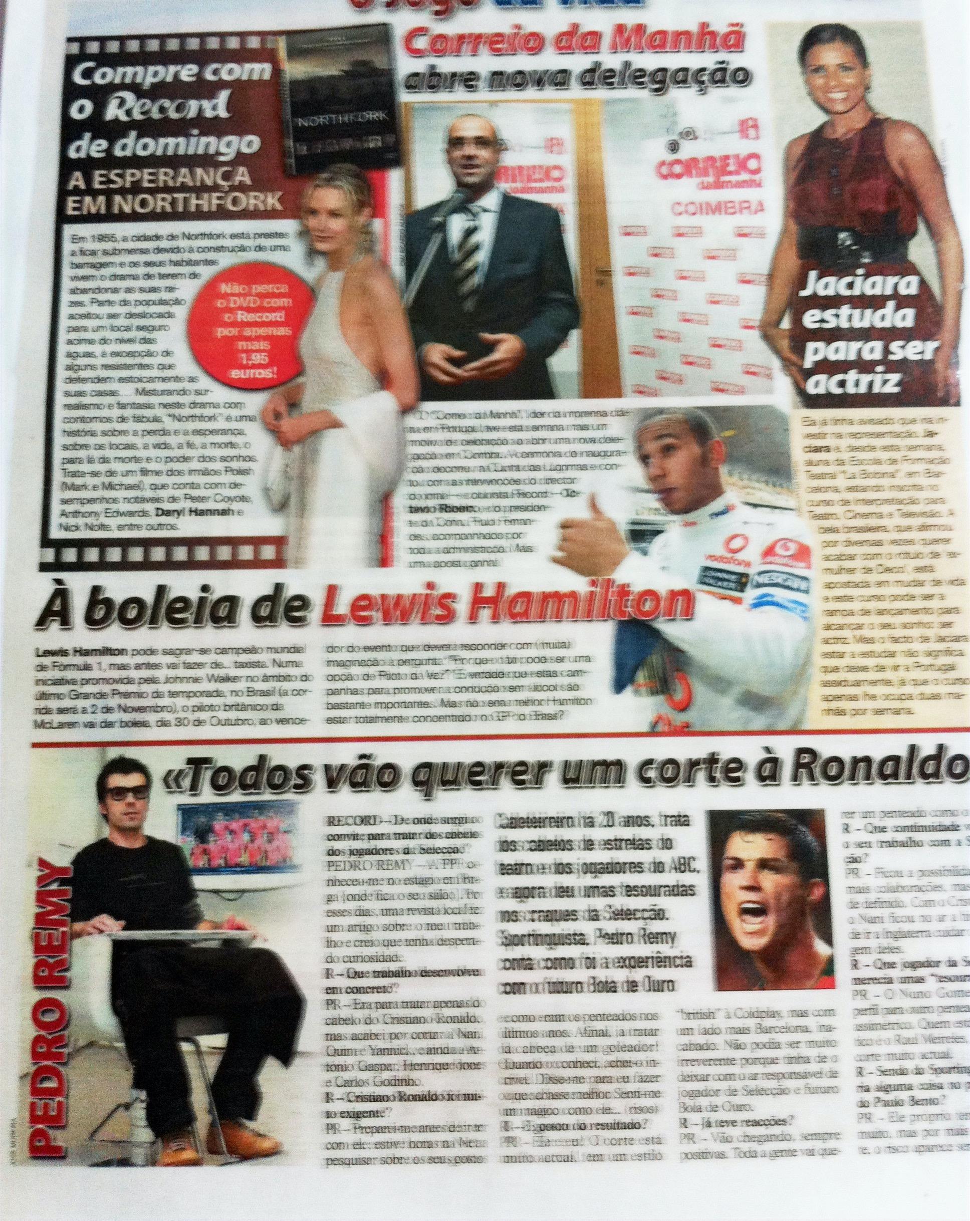 Jornal correio da Manhã Pedro Remy cabeleireiro Cristiano Ronaldo Corte cabelo