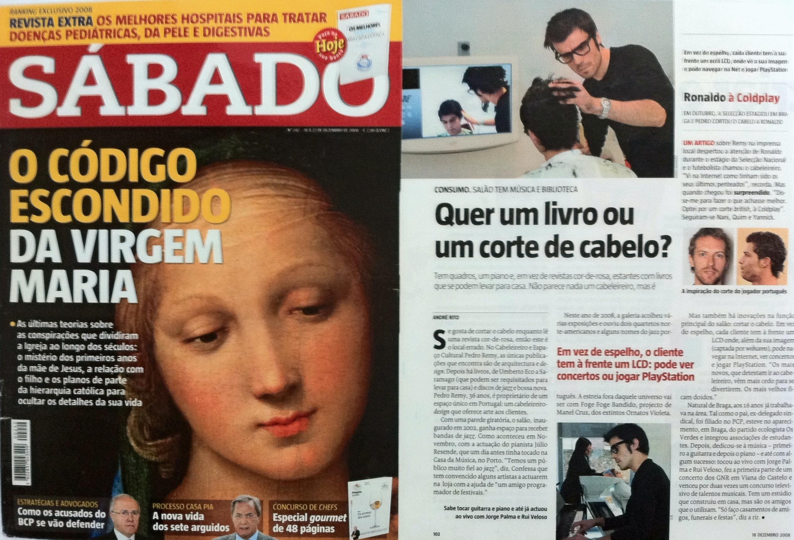 Revista Sábado Pedro Remy cabeleireiro Cristiano Ronaldo Corte cabelo