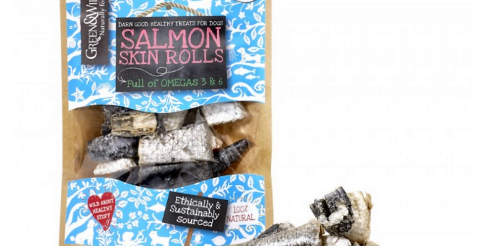 Green and Wilds Salmon Skin Rolls