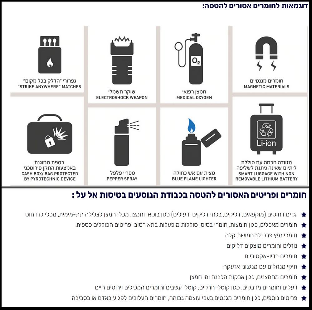 מדיניות חומרים אסורים כפי שמופיעה באתר אל על