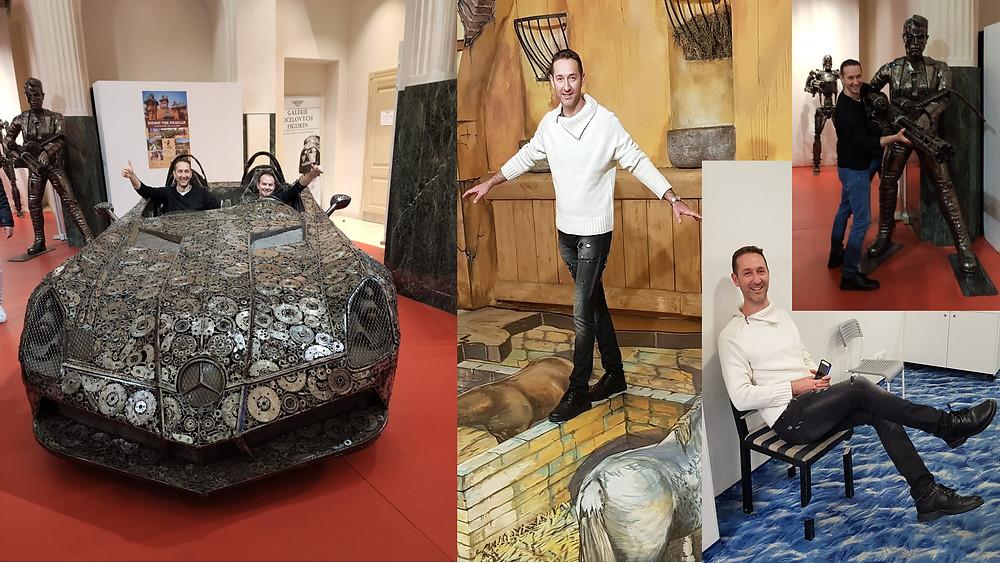 ביקור בגלריה עם דמויות עשויות ממתכת וביקור במוזיאון החושים בעיר פראג