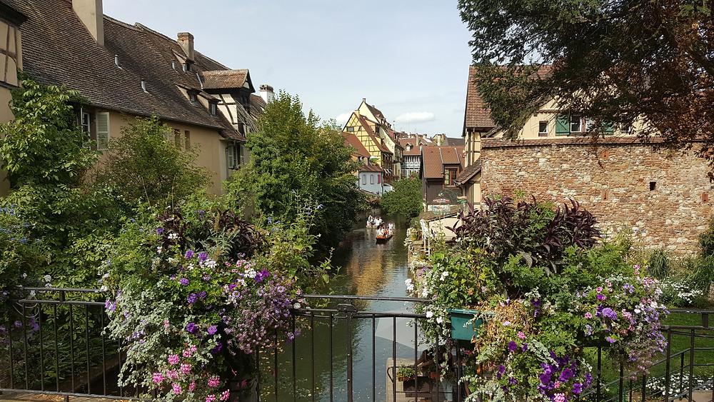 שייט גונדולות בנהר הנמצא באזור חלב אלזס הנקרא גם דרך היין בעיר קולמר אשר בצרפת