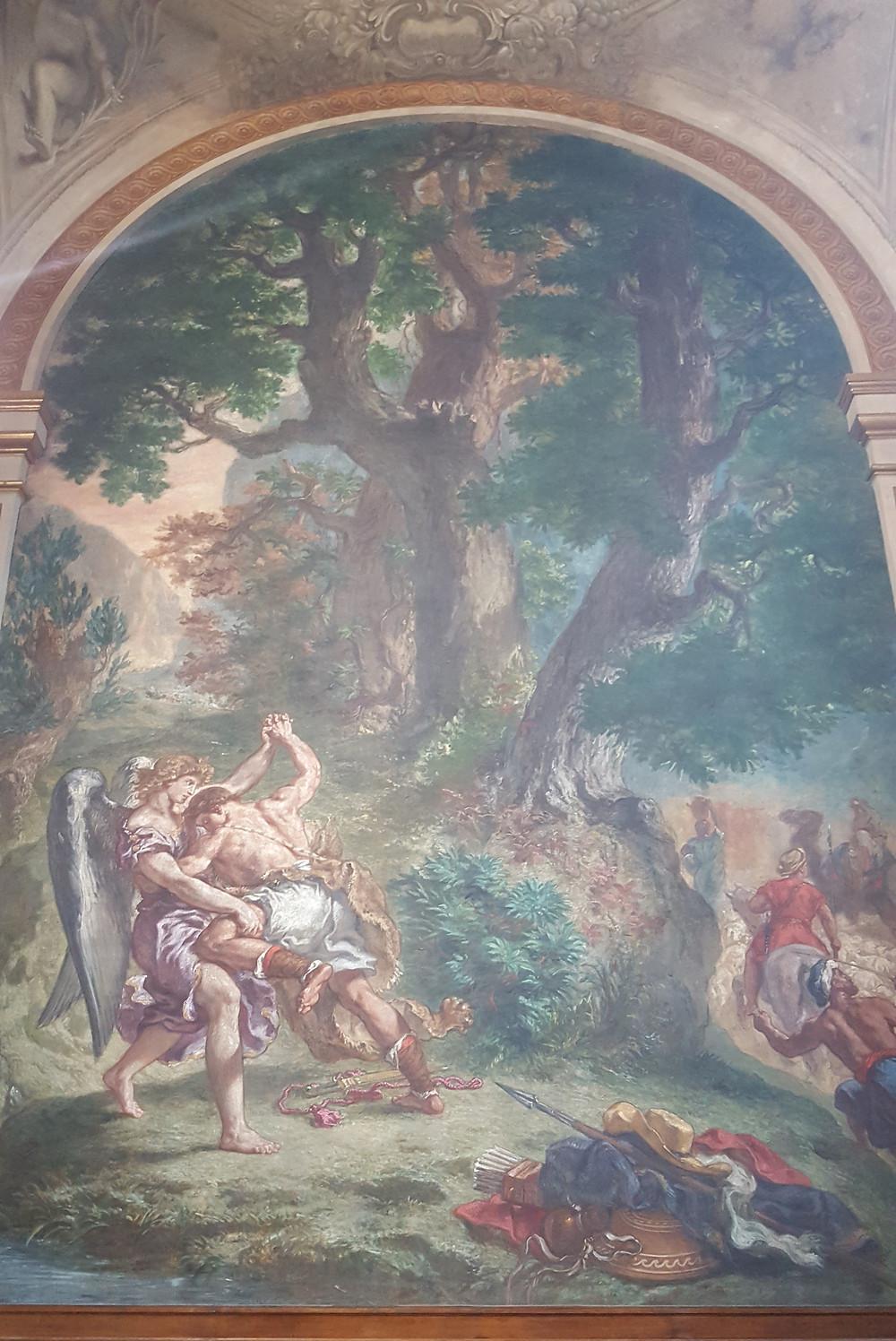 יצירה בכנסייה סן סולפיס בנושא יעקב נאבק עם מלאך