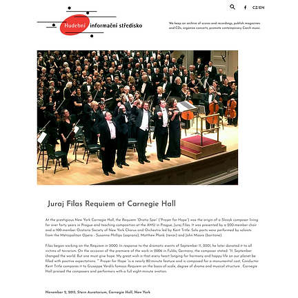 Requiem by Juraj Filas at Carnegie Hall