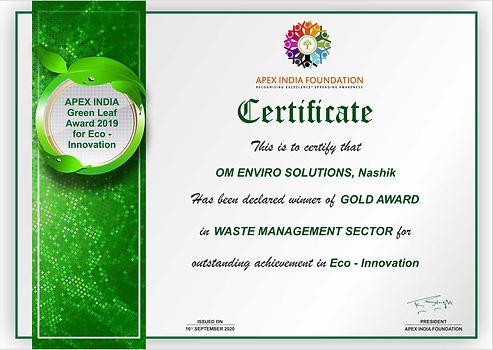 E-certificate for Om Enviro Solutions.jp