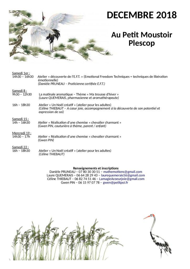 Ateliers de décembre à Plescop