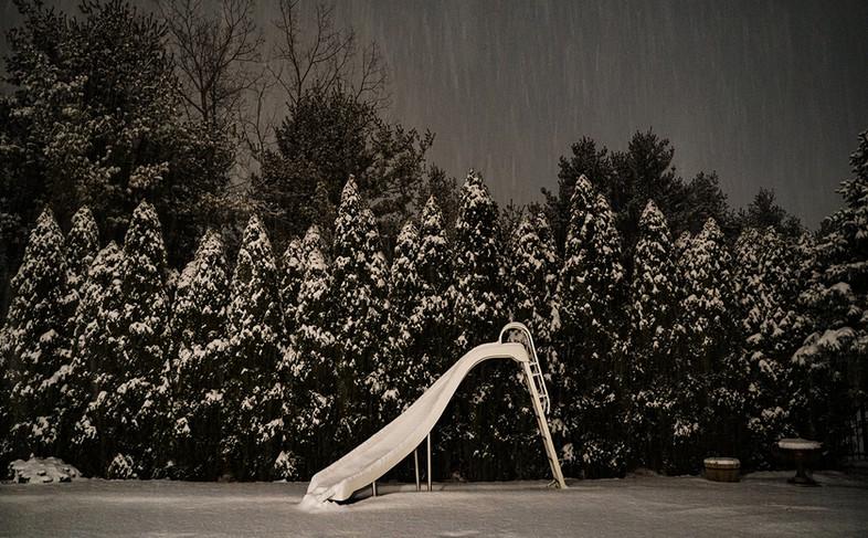 Early February, snowy night