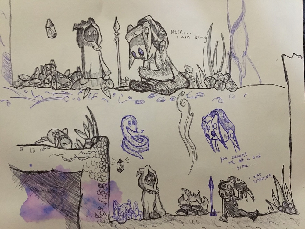 Lumen meeting an NPC in the Hive Cave by Andrew