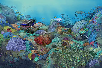 coral reef digital painting in photoshop