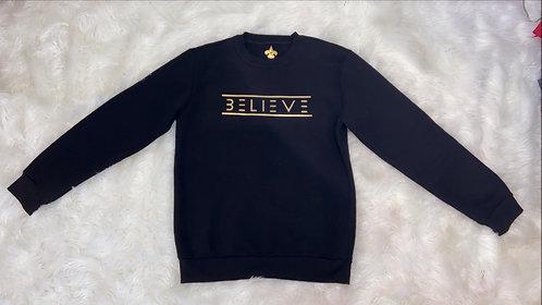 Black Unisex Crewneck Sweatshirt (Gold Believe)