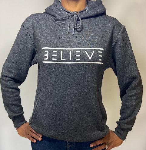 Charcoal Grey Unisex Ultimate Fleece Pullover Hoodie (White Believe)