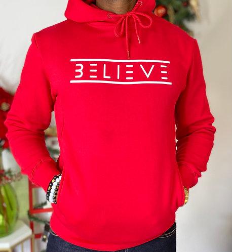 Red Unisex Ultimate Fleece Pullover Hoodie (White Believe)