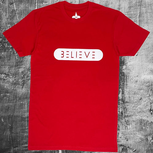 Red with White Believe T Shirt