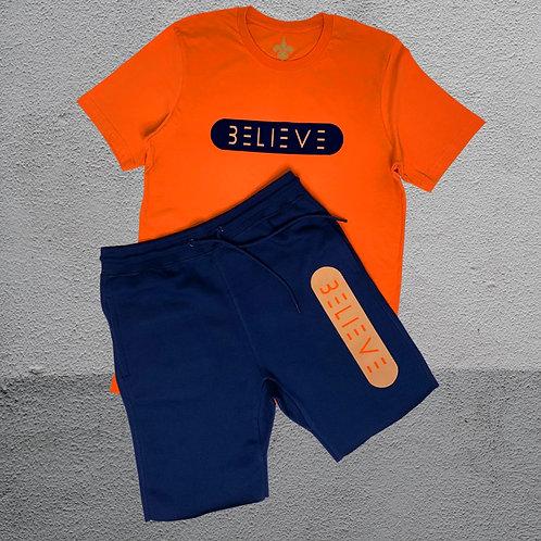 Navy Blue with Beige & Orange Believe
