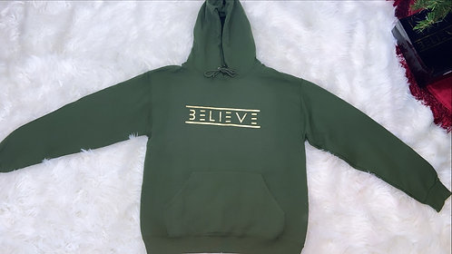 Military Green Unisex Ultimate Fleece Pullover Hoodie (Gold Believe)
