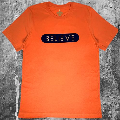 Orange with Navy Blue and Beige Believe T Shirt