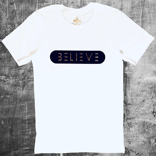 White with Black & Gold Believe