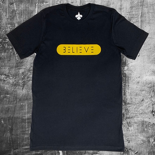 Black & Yellow Believe T Shirt