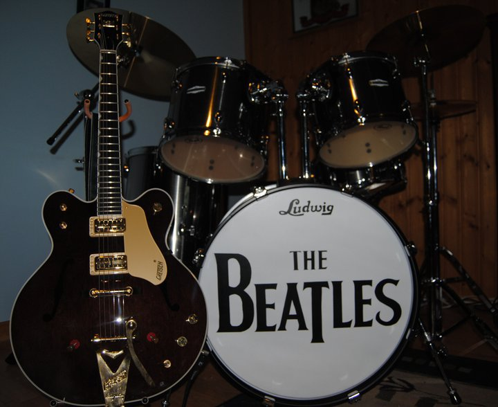 Beatles Logo replica on a drumhead
