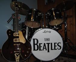 Beatles Logo replica on a drumhead
