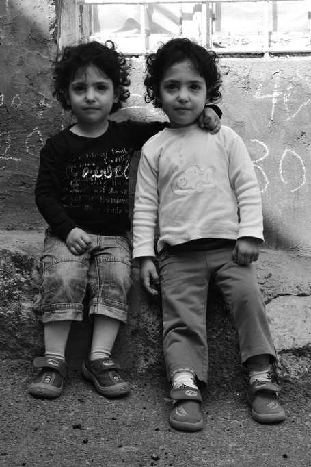 The twins reconnect for a portrait.