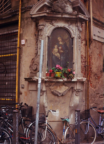 The corner of worship and flowers.