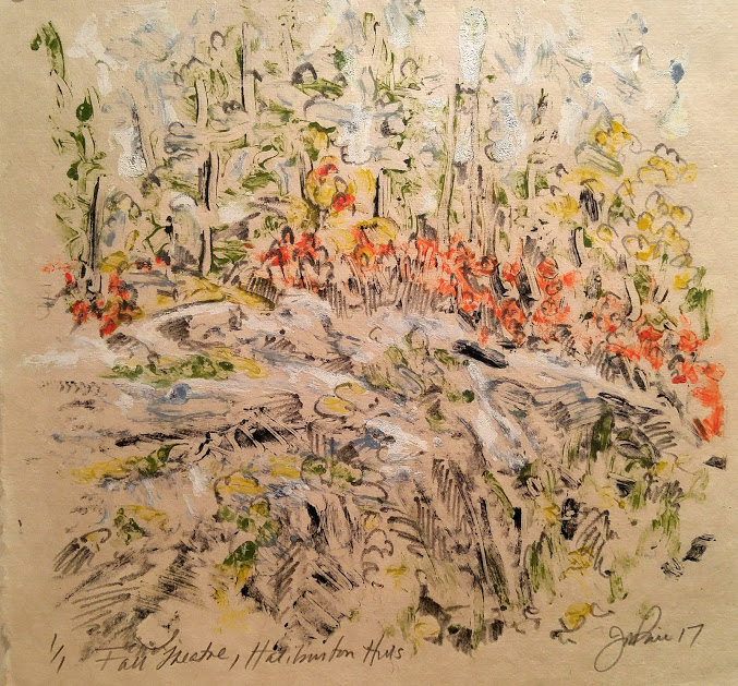 Jill Price, Fall Theatre- Haliburton Hills, 12 x 12, oil stick and graphite on japanese paper, 2017