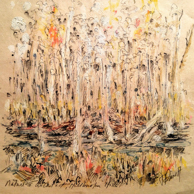 Jill Price, Nature's Architect, Haliburton Hills, 2017, 12 x 12, oil stick and graphite on japanese
