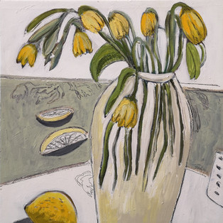 Jill Price, Landscape on Table: Lemons and Lazy Daffodils