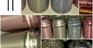 MAC Cosmetics Loose Pigments + MAC Glitter Review & Swatches in Silver Fog, Kitschmas, Rich Purple,