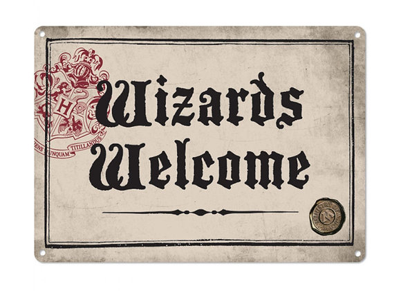 Harry Potter Tin Sign - Wizards Welcome